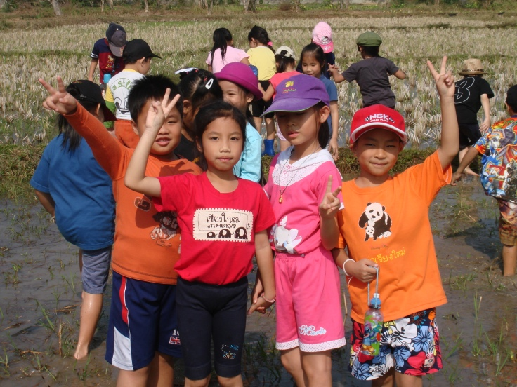 Having fun on the farm Varee Chiang Mai School students on a field trip